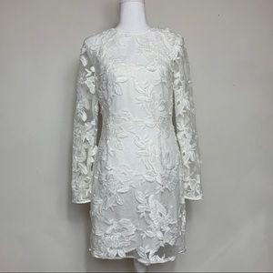 Topshop White Floral Sheer Mini Slip Dress Size 6